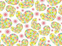Corações retros do pastel do mosaico do divertimento Imagem de Stock