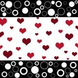 Corações retros e círculos Imagem de Stock