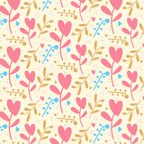 Corações românticos bonitos valentine' fundo do teste padrão do dia de s ilustração royalty free