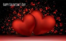 Corações românticos do amor vermelho Fevereiro 14 Do dia global do amor da bandeira do cartão do dia de Valentim formas tridimens Fotos de Stock Royalty Free