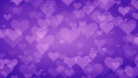 Corações roxos macios em fundo graduado Dia de Valentim Conce ilustração stock