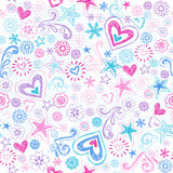 Corações sem emenda & teste padrão esboçado dos Doodles das estrelas ilustração do vetor