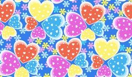 Corações sem emenda teste padrão da cor dos doces, Valentim Imagens de Stock Royalty Free