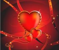 Corações Sparkling com fitas Fotografia de Stock
