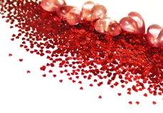 Corações sparkly vermelhos. Fotos de Stock Royalty Free