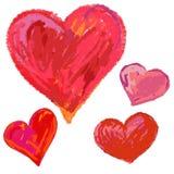 Corações tirados mão. Imagens de Stock