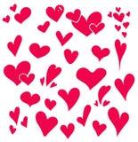 Corações tirados mão ajustados isolados Elementos do projeto para o dia do ` s do Valentim A coleção de corações do esboço da gar Imagem de Stock