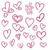 Corações tirados mão ajustados isolados Elementos do projeto para o dia do ` s do Valentim A coleção de corações do esboço da gar Imagens de Stock