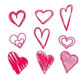 Corações tirados mão ajustados isolados Elementos do projeto para o dia do ` s do Valentim A coleção de corações do esboço da gar Foto de Stock