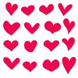 Corações tirados mão ajustados isolados Elementos do projeto para o dia do ` s do Valentim A coleção de corações do esboço da gar Foto de Stock Royalty Free