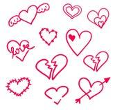 Corações tirados mão ajustados isolados Elementos do projeto para o dia do ` s do Valentim A coleção de corações do esboço da gar Imagem de Stock Royalty Free