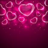 Corações transparentes no fundo cor-de-rosa ilustração royalty free