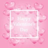 Corações transparentes realísticos e cumprimentos felizes do dia de Valentim no fundo cor-de-rosa, ilustração do vetor ilustração royalty free