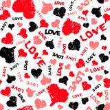 Corações Valentine Background com palavra pintada do amor ilustração royalty free