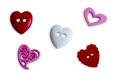 Corações vazios do botão sobre no branco Fotografia de Stock Royalty Free