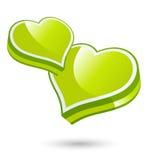 Corações verdes do amor Fotos de Stock
