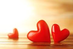 Corações vermelhos brilhantes Fotografia de Stock