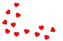 Corações vermelhos brilhantes em um fundo listrado A fim usar o dia do ` s do Valentim, casamentos, dia internacional do ` s das  Fotos de Stock Royalty Free
