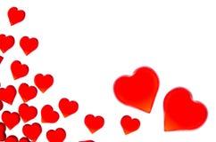 Corações vermelhos brilhantes em um fundo listrado A fim usar o dia do ` s do Valentim, casamentos, dia internacional do ` s das  Fotografia de Stock Royalty Free
