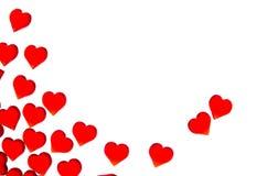 Corações vermelhos brilhantes em um fundo listrado A fim usar o dia do ` s do Valentim, casamentos, dia internacional do ` s das  Imagem de Stock