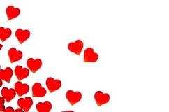 Corações vermelhos brilhantes em um fundo listrado A fim usar o dia do ` s do Valentim, casamentos, dia internacional do ` s das  Imagens de Stock Royalty Free