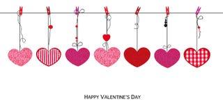 Corações vermelhos cor-de-rosa de brilho Cartão feliz do dia de Valentim com fundo de suspensão dos corações dos Valentim do amor ilustração do vetor