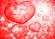 Corações vermelhos da bolha dos Valentim Imagens de Stock Royalty Free