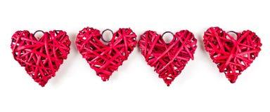 Corações vermelhos da palha Fotos de Stock