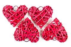 Corações vermelhos da palha Imagem de Stock Royalty Free