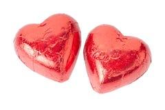 Corações vermelhos do chocolate Imagem de Stock Royalty Free