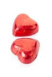 Corações vermelhos do chocolate Fotos de Stock Royalty Free