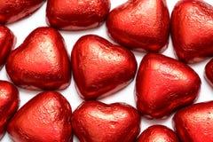 Corações vermelhos do chocolate Foto de Stock Royalty Free