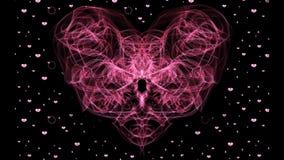 Corações vermelhos do coração e da partícula do fractal no fundo preto Animação do símbolo do amor da fantasia Fundo do casamento ilustração do vetor