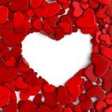 Corações vermelhos do grupo no fundo branco Fotografia de Stock Royalty Free