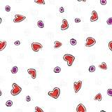 Corações vermelhos do teste padrão no fundo branco Foto de Stock Royalty Free