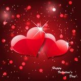 Corações vermelhos do vetor no fundo abstrato Fotos de Stock