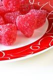 Corações vermelhos dos doces fotos de stock royalty free