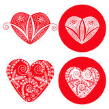 Corações vermelhos dos Valentim ajustados de quatro objetos Fotografia de Stock