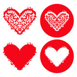 Corações vermelhos dos Valentim ajustados Mão desenhada Fotos de Stock