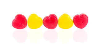 Corações vermelhos e amarelos dos doces Foto de Stock Royalty Free