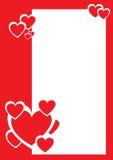Corações vermelhos e brancos, beira decorativa Imagem de Stock