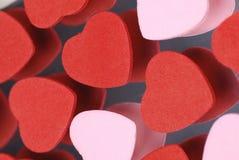 Corações vermelhos e cor-de-rosa Fotografia de Stock