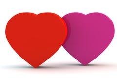 Corações vermelhos e cor-de-rosa Imagem de Stock