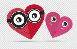 Corações vermelhos e cor-de-rosa bonitos ilustração stock