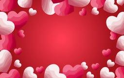Corações vermelhos e cor-de-rosa com fundo do inclinação ilustração royalty free
