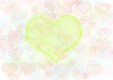 Corações vermelhos e verdes. Fundo Imagens de Stock