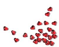 Corações vermelhos em um fundo branco com sombras, fundo do conceito dos Valentim Imagem de Stock Royalty Free