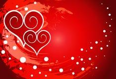 Corações vermelhos em um ornamento da flor ilustração stock