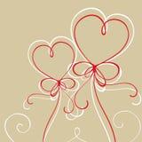 Corações vermelhos feitos das linhas Fotos de Stock Royalty Free