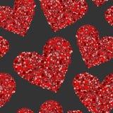 Corações vermelhos feitos dos círculos pequenos no preto ilustração royalty free